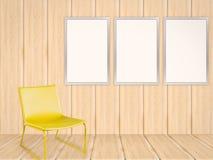 3 пустых рамки в живущей комнате Стоковая Фотография