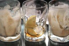 3 пустых стекла от лимонадов Стоковые Фотографии RF