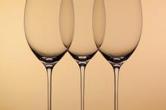 3 пустых стекла вина Стоковые Фотографии RF