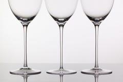 3 пустых стекла вина Стоковые Фото