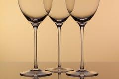 3 пустых стекла вина Стоковая Фотография