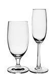 2 пустых стекла на белизне Стоковая Фотография RF