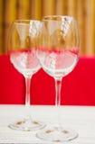2 пустых стекла на таблице в кафе Стоковое Изображение