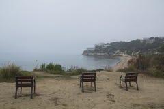 3 пустых стуль в побережье Стоковые Изображения