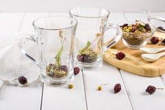 2 пустых чашки с ингридиентами травяного чая Стоковое Изображение RF
