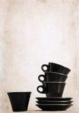 4 пустых черных кофейной чашки Стоковая Фотография