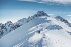 Путешественники альпиниста идут к снежному пику на горах Стоковые Изображения