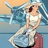 Путешественник дамы на авиапорте иллюстрация вектора
