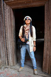 Путешественник в квадрате Hanuman Dhoka Durbar на Катманду Непале Стоковое Фото