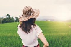 Путешественник женщины смотря заход солнца на зеленых террасах риса field Стоковые Фото
