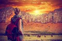 Путешественник женщины с рюкзаком Стоковое Изображение