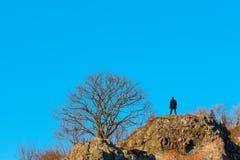 Путешественник заднего взгляда мужской на утесе осени Стоковые Изображения RF