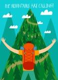 Путешественник при большой рюкзак смотря гору бесплатная иллюстрация