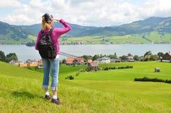 Путешественник с backpack Стоковые Изображения RF
