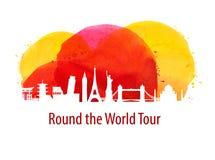 Путешествие исторические здания мира также вектор иллюстрации притяжки corel Стоковое фото RF