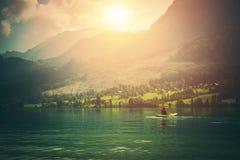Путешествие каяка на озере Стоковое фото RF