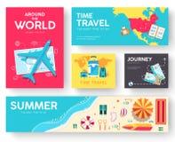 Путешествие комплекта карточек брошюры вектора мира путешествуйте шаблон flyear, кассеты, плакаты, обложка книги, знамена Лето Стоковые Изображения