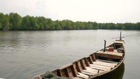 Путешествие шлюпки мангровы в консервации леса мангровы в Индонезии сток-видео