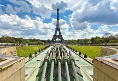 Путешествие Eiffel Ла, Париж Взгляд от садов Trocadero Стоковые Фотографии RF