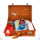 Путешествия раскройте чемодан вектор 3d Стоковая Фотография