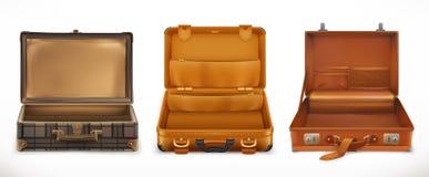 Путешествия раскройте чемодан иконы иконы цвета картона установили вектор бирок 3 Стоковое фото RF