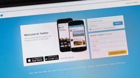 Путешествия, Франция - 17-ое июня 2014: Вебсайт Twitter на scr компьютера стоковые изображения