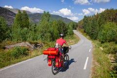 Путешествовать велосипедист на трассе цикла в южной Норвегии стоковая фотография rf