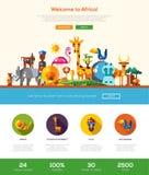 Путешествовать к знамени заголовка вебсайта Африки с элементами webdesign Стоковое Изображение