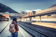 Путешествовать поездом на высокогорной железной дороге Стоковая Фотография RF