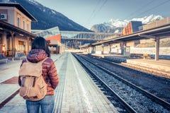 Путешествовать поездом на высокогорной железной дороге Стоковые Фотографии RF