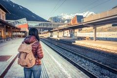 Путешествовать поездом на высокогорной железной дороге Стоковые Фото