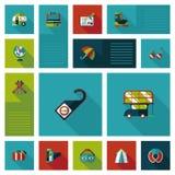 Путешествовать плоская предпосылка ui, eps10 Стоковое Изображение
