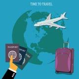 Путешествуйте концепция, багаж, багаж, apps, иллюстрация вектора в плоском дизайне для вебсайтов, дизайне Infographic, app, знаме иллюстрация штока