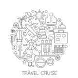 Путешествуйте круиз в круге - линии иллюстрации концепции для крышки, эмблемы, значка Перемещение каникул круиза перемещения утон бесплатная иллюстрация
