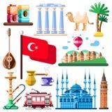 Путешествуйте к значкам вектора Турции и элементам дизайна Турецкие национальные символы и иллюстрация ориентир ориентиров плоска иллюстрация штока