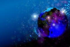 Путешествуйте мир, фестиваль, Новый Год фейерверков на глобусе земли Стоковые Изображения