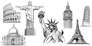 путешествуйте назначения-NYC, Лондон большое Бен, Рим-Колизей, башня Париж-Eiffel, Рио de Janeiro-Иисус Статуя, NYC-статуя o иллюстрация вектора