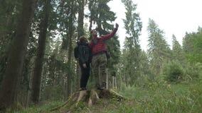 Путешествуйте пешее selfie принятое красивыми активными парами стоя на дереве пня усмехаясь на камере используя современную чернь сток-видео