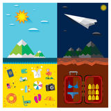 Путешествуйте пляжи моря днем и ночью, горы, облака, самолет Стоковое Изображение