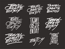 Путешествуйте, создайтесь, насладитесь Комплект рукописных фраз литерности также вектор иллюстрации притяжки corel бесплатная иллюстрация