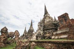 Путешествуйте Wat Phra Si Sanphet Ayutthaya, исторический парк учитывает местом всемирного наследия стоковая фотография
