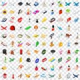 100 путешествуя установленных значков, равновеликий стиль 3d Стоковая Фотография