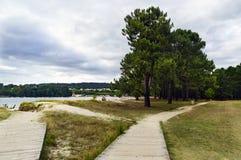Пути деревянных планок на песке и траве вызванного пляжа Стоковое Изображение RF
