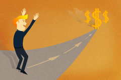 Путь бизнесмена к успеху/зарабатывает деньги Стоковая Фотография RF