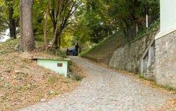 Путь водя от кладбища к церков дела St Nicholas в замке в старом городе Город Sighisoara в Румынии Стоковое Изображение