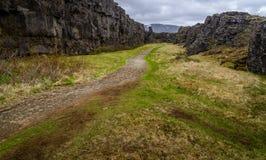 Путь в национальном парке Pingvellir, Исландии стоковое фото