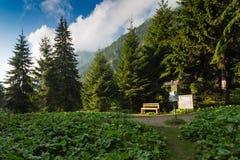 Путь горы с знаком и местом стоковое изображение