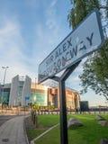 Путь господина Алекса Ferguson подписывает внутри Манчестер Стоковые Фото