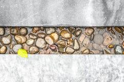 Путь камушка в воде обрамленной с камнем. Стоковое фото RF