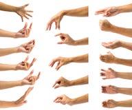 Путь клиппирования множественного мужского жеста рукой изолированный на белом ба Стоковое фото RF